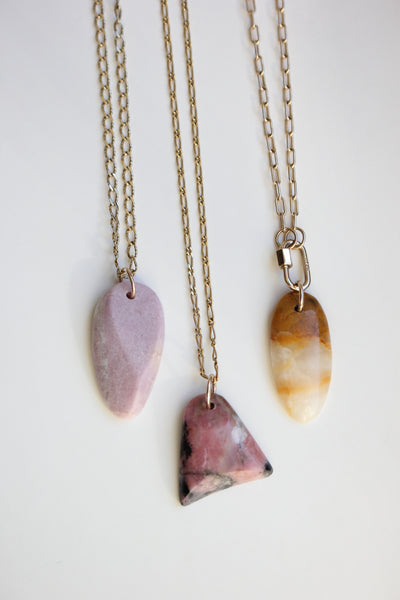 Indigo Sanctuary Collaboration Collection- Ethically Hand-Sourced and Hand-Cut Rhodonite Pendant with 14k Soldered Bail