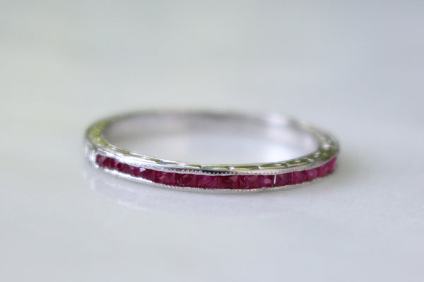 Vintage 1920s 18k White Gold Natural Red French Cut Ruby Half Eternity Band/Stacking Ring Size 6