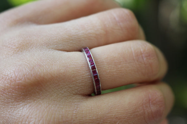 Vintage 1920s Platinum and Natural Ruby Full Eternity Band/Stacking Ring Size 5.5