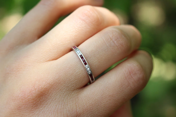 Vintage Platinum Natural Ruby and Diamond Eternity Band Stacking Ring Size 6.25