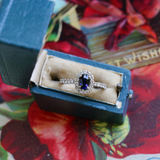 Modern Estate 14k Blue Sapphire and Diamond Halo Engagement or Statement Ring