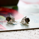 14k Two-Tone Black Star Sapphire and Diamond Stud Earrings