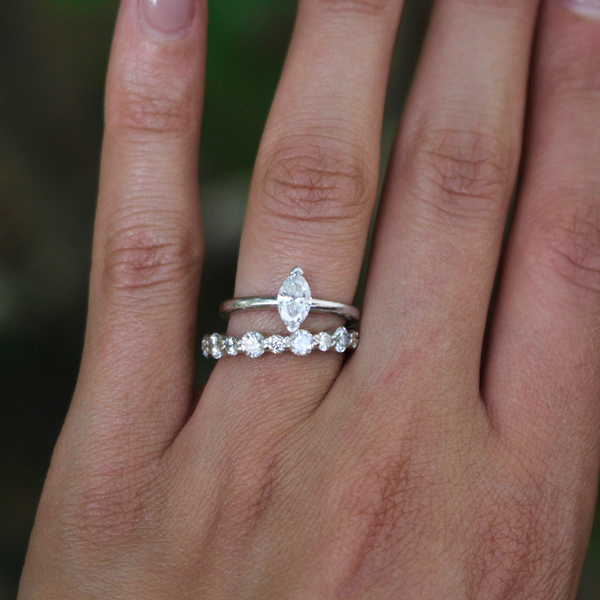 Modern Estate 14k White Gold Marquise Diamond Engagement Ring