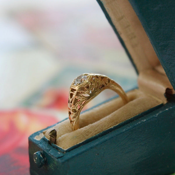 14k Yellow Gold Old European Cut Engagement or Right Hand Ring