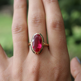 Vintage 1930s Art Deco 14k Black Enamel and Synthetic Ruby Ring