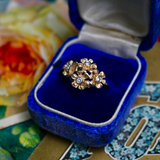 Vintage 14k and Diamond Forget-Me-Not Cocktail Ring