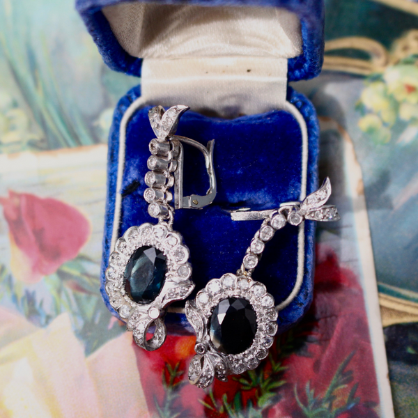 Retro 1940s Diamond and Sapphire Chandelier Earrings