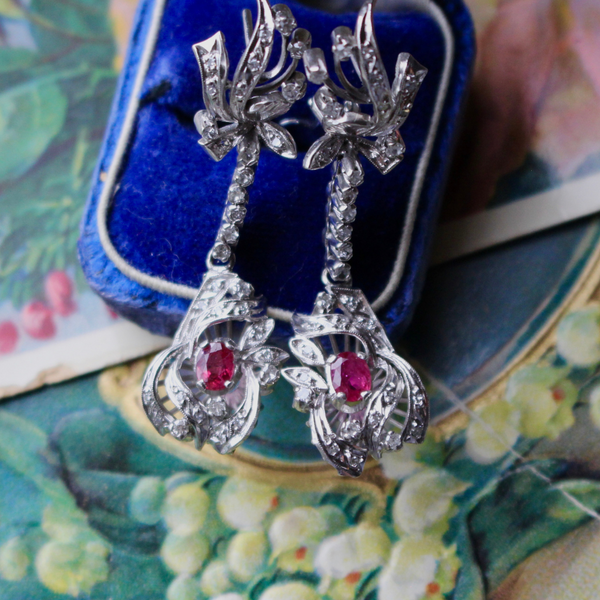 Retro/Mid Century Natural Ruby and Diamond Chandelier Earrings