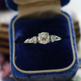 Vintage 18k White Gold Classic 3-Stone Old European Cut Engagement Ring