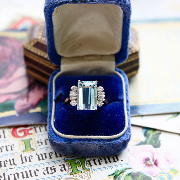 Estate 14k Aquamarine and Diamond Statement Ring