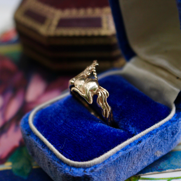 Vintage 14k Yellow Gold Unicorn Ring