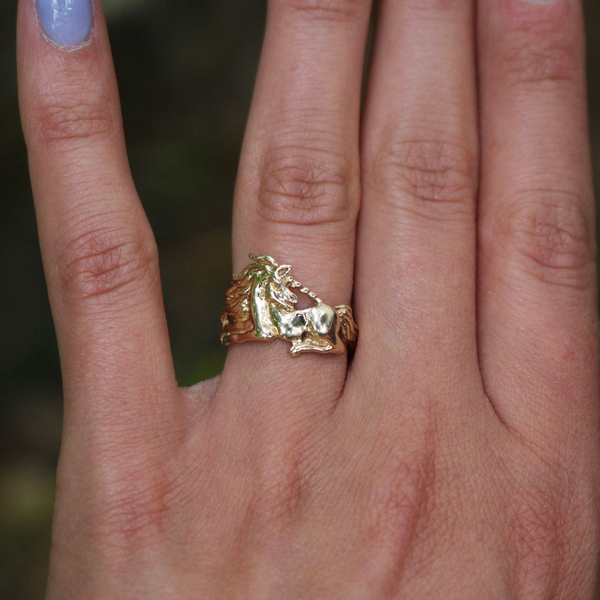 Vintage 14k Yellow Gold Unicorn Ring and sizing to 10.3 for Juliet