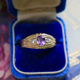 14k Bezel Amethyst and Diamond Ring Size 8.75