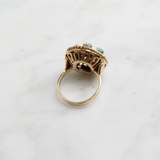 Vintage 1970s 14k Yellow Gold and Turquoise Cocktail Ring Size 5.25 (sizable)