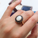 Mid Century Vintage 10k Opal Ring with Blue Sapphire Halo Size 6.25 (sizable)