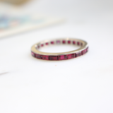 Vintage Art Deco 14k Baguette Lab Ruby Eternity Band Size 7.25