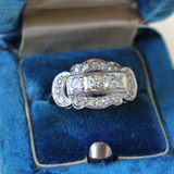 Art Deco 14k White Gold Three-Stone Statement or Engagement Ring with Scalloped Edges
