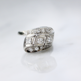 1940s 14k White Gold Statement or Engagement Ring Size 6.25