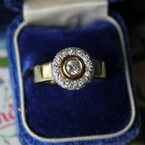 18k Yellow Gold Bezel-Set Diamond Halo Ring with Wide Band Size 8.5