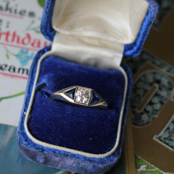 Vintage Retro 14k Transitional Cut Diamond and Trillion Cut Sapphire Ring Size 8