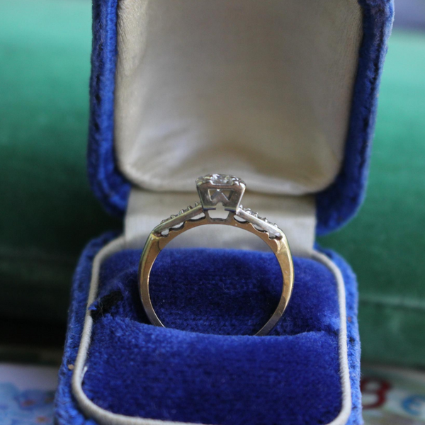 Mid Century Vintage 14k Two-Tone Diamond Engagement Ring Size 5 (Sizable)