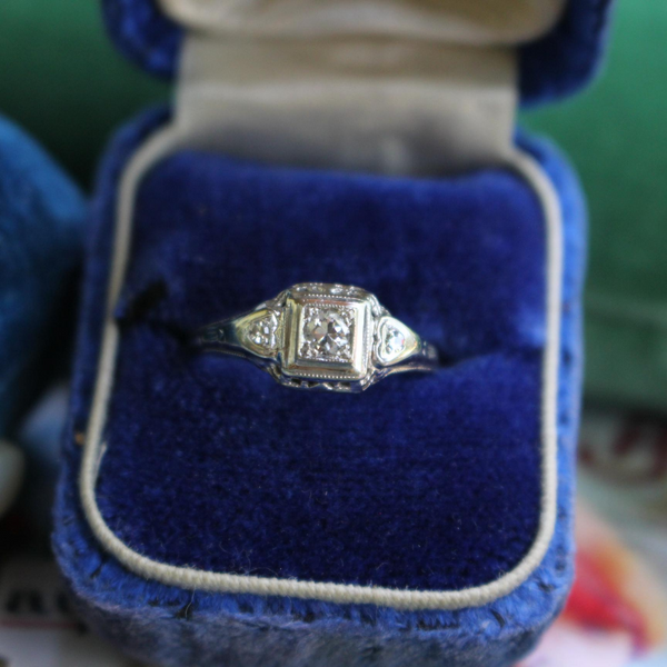 Vintage Art Deco 10k White Gold Old Cut Diamond Engagement or Statement Ring