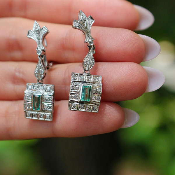 1940s Art Deco Retro Palladium Emerald and Diamond Drop Earrings