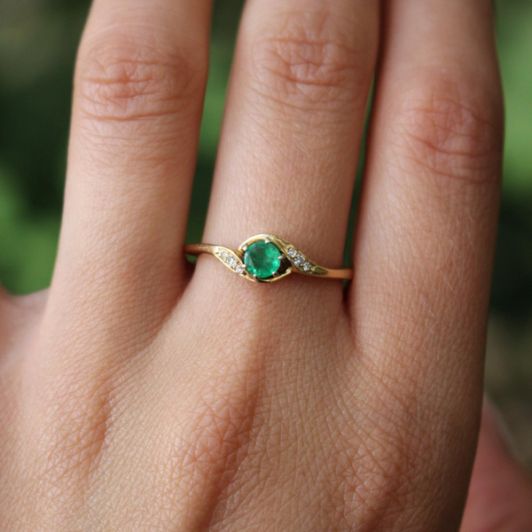 Vintage Mid Century 14k Emerald and Diamond Bypass Ring