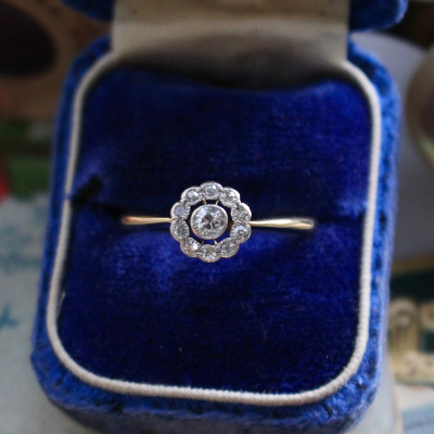 Old Mine Cut Diamond Cluster Engagement or Right Hand Ring