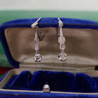 Art Deco 14k White Gold Diamond Dangle Earrings