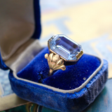 Retro 1940s 14k Synthetic Blue Spinel Cocktail Ring Size 7