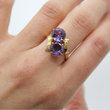 Vintage 14K Synthetic Color Change Sapphire Bypass Ring Size 7