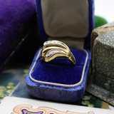 Vintage 18k and Diamond Bold Statement Ring Size 9.75