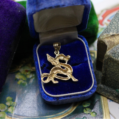 Vintage 14k Yellow Gold Dragon Pendant
