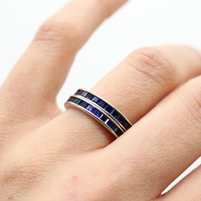 Vintage 14k White Gold Synthetic Sapphire Eternity Bands/Wedding Rings Size 5.5 (Sold Seperately)