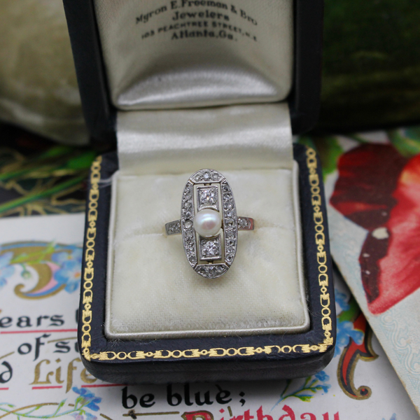 Antique Belle Époque Platinum 18k Pearl and Diamond Ring