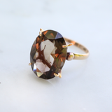 Vintage 1960s 14k Smoky Quartz Cocktail Ring Size 6.75