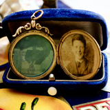 WWI Era Sentimental 9ct Chased Locket with Son to Mother Engraving and Photos