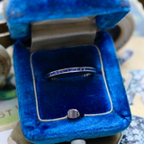 14k White Gold Carré Cut Sapphire Wedding Ring Stacking Band Size 6.25