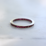 Art Deco Platinum and Natural Ruby Carré Cut Eternity Ring/Wedding Band Size 7.25