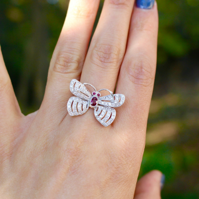 Spectacular 14k White Gold Diamond and Ruby Butterfly Cocktail Ring