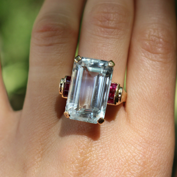 1940s Retro Aquamarine and Ruby 14K Rose Gold Cocktail Ring