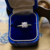 Mid Century Vintage 14k Brilliant Diamond Illusion Setting Solitaire Engagement Ring