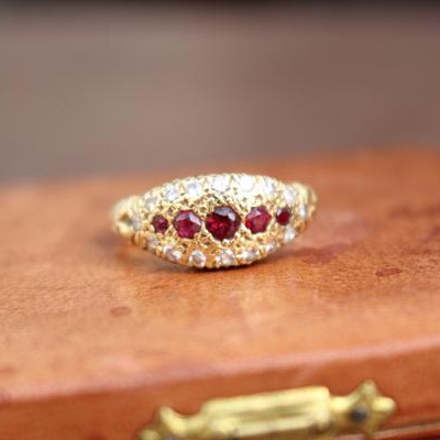 Victorian Revival British Hallmarked 18k Natural Ruby and Diamond Ring Size 7.25