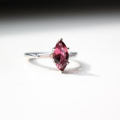 Mid Century Vintage Platinum Ring with Diamonds and Pink Tourmaline
