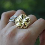 14k Yellow Gold Victorian Pansy Flower Conversion Ring