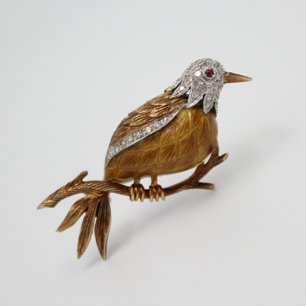 Vintage Mid Century 18k Gold, Diamond, Ruby, and Enamel Bird Brooch