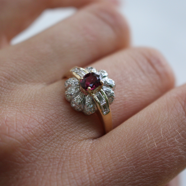 Art Deco 14k Diamond and Rhodolite Flower Cluster Ring Size 7