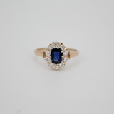 Edwardian c.1910 Outstanding Natural Sapphire and Diamond Engagement or Statement Ring Size 7