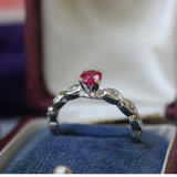 Modern Estate 14k Ruby and Diamond Solitaire Engagement of Statement Ring Size 7